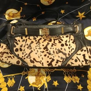 RACHEL ZOE LEOPARD CALF HAIR BLACK LEATHER DEUX